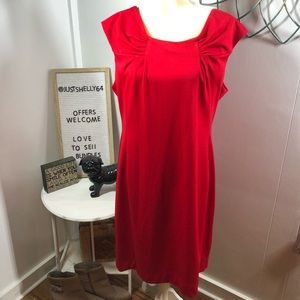 Calvin Klein Red Ruched Sheath sleeveless Dress 16